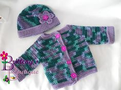 I was inspired by the buttons in this set, the different shapes really work well with the color variegation in the yarn.  This set would be perfect to bundle up your little one for an outing on a cool spring day!   Just enough to keep the little girly warm and dry while on her outdoor adventures.  This set was made using my Two Tone Sweater Set Pattern, so you know it was made with extra love! You can find this pattern for free on my blog!!
