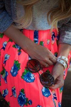 neon floral skirt // wrap bracelet // round sunnies