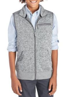 J. Khaki Sweater Knit Vest Boys 8-20 - Gray - Medium 10-12