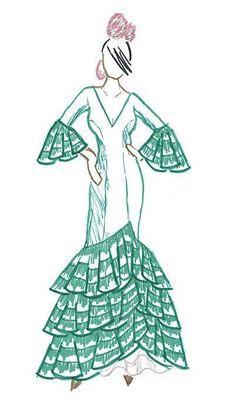 Cómo hacer un vestido de flamenca Parte 1 de 6 : Diseño general y confección del cuerpo del vestido Flamenco Costume, Flamenco Skirt, Flamenco Dancers, Spanish Costume, Spanish Dress, Applique Dress, Embroidery Applique, Princess Coloring Pages Printables, African Drawings