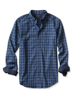Slim-Fit Blue Gingham Luxe-Flannel Shirt | Banana Republic
