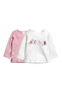 2 camisetas de manga larga - Blanco/Pájaros - NIÑOS | H&M ES