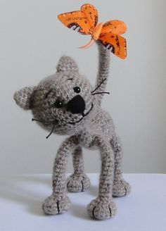 Cat and Butterfly Stuffed Animals Crochet Handmade Soft toy decor Amigurumi. Made to order