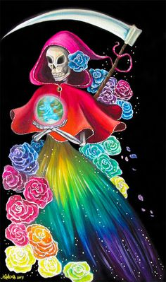 Rainbow Santa Muerte - Oil on Canvas - by Nahima Grim Reaper Art, Grim Reaper Tattoo, Santa Muerte Prayer, Aztec Costume, Skeleton Art, Giant Skeleton, Chicano Drawings, Death Art, Skull Artwork
