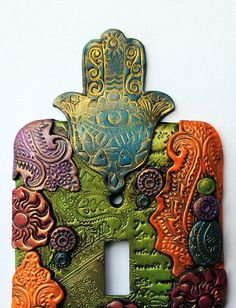 Colorful Hamsa switch plate light switch cover by TMBakerDesigns