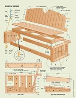 free plans woodworking resource from Handyman Club of America - wooden porch swings,hanging porch swings,wooden porch swings,front porch swi. Woodworking Square, Woodworking Plans, Woodworking Projects, Woodworking Classes, Workbench Plans, Lawn Furniture, Furniture Plans, Small Wooden Desk, Porch Styles