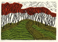 Magprint: Hillside Trees: linocut