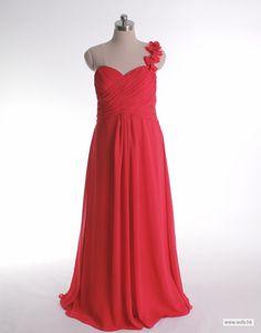 empire bridesmaid dresses One shoulder A-line with ruffle embellishment chiffon bridesmaid dress $134.8