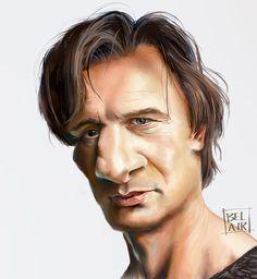 Caricatura de Liam Neeson.
