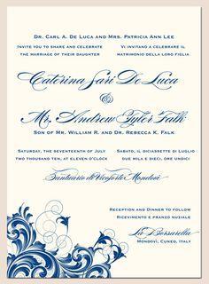 English Italian Bilingual Wedding Invitation All On One Side