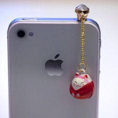 Kawaii RED LUCKY CAT Bell Iphone Earphone by fingerfooddelight, $8.50