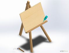 How to Make an Easel. Easels are helpful tools that hold canvases and drawing pads upright while they're being worked on or displayed. You can always buy an easel at an art supply store, but you can build one at home with wood, pipe, or. Diy Easel, Wooden Easel, Dyi Crafts, Diy Craft Projects, Wood Projects, Project Ideas, Ice Lolly Stick Crafts, Floor Easel, Oregon House
