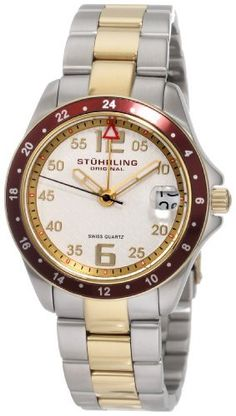 Stuhrling Original Women's 290.122LL22 Aquadiver Regatta Galleon Swiss Quartz Date Two Tone Bracelet Watch Stuhrling Original. $83.00. Water-resistant to 165 feet (50 M). Brushed and polished two tone link bracelet with deployant clasp. Brushed and polished stainless steel case with yellow gold layered bezel. Protective Krysterna crystal with designed case back. Silver designed dial with goldtone markers and date window. Save 80% Off!