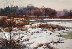 Winter Marsh by Christopher Leeper Watercolor ~ 22 x 30