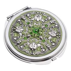 Crystal Clay Filigree and Swarovski Chaton Compact - Sage - Picture 2