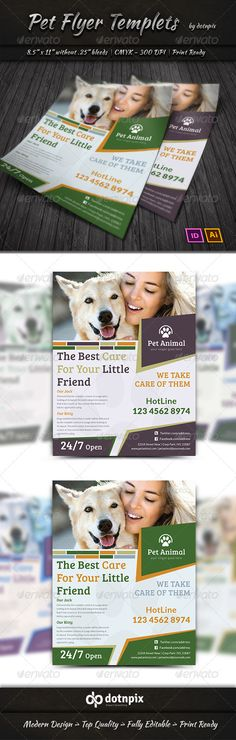 Pet Flyer Templets — Vector EPS #neutering #petshop • Available here → https://graphicriver.net/item/pet-flyer-templets/7334088?ref=pxcr