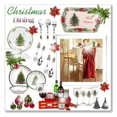 """Christmas Dining..."" by fashionlibra84 on Polyvore featuring interior, interiors, interior design, home, home decor, interior decorating, Mikasa, Improvements, Spode and Vagabond House"