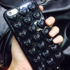 Hot Luxury Korea fashion 3D loving heart black Cover case for iphone 7 7 plus 6 6s 6plus 6splus phone housing -0318