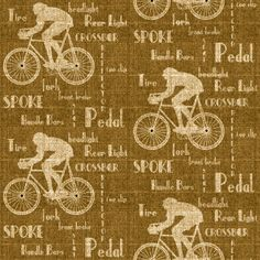 The Cyclist Wallpaper on tweed background is our way of paying homage to The Tweed Run a metropolitan bicycle ride (established in 2009).  Design by ATADesigns. http://www.atadesigns.com/portfolioentry/cyclist-wallpaper-golden-brown/