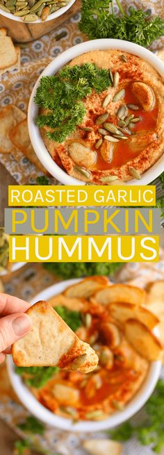 A classic dish with a seasonal twist, this Roasted Garlic Pumpkin Hummus is the perfect snack for all your fall gatherings. Delicious Vegan Recipes, Easy Healthy Recipes, Raw Food Recipes, Healthy Cooking, Vegetarian Recipes, Vegetarian Dish, Vegan Appetizers, Vegan Snacks, Healthy Snacks