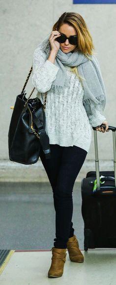 Lauren Conrad : Emmanuelle Khanh paris black sunglasses, grey scarf, grey knit sweater, dark skinny jeans, Chanel Jumbo Weekender bag & tan ankle boots
