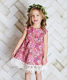 Pink Floral Crochet-Trim Dress - Infant, Toddler & Girls
