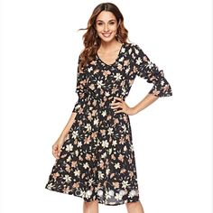 825042b1cd5 Aamikast Autumn Floral Women Dresses Multicolor Elegant Long Sleeve High  Waist A Line Chic Dress Ladies Tie Neck Dress