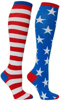 Show your American pride with these stars and stripes knee high socks.  Available in Bright or Vintage red, white & blue.  Fits women's shoe size 5-10.