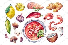 Tom Yum Soup + Ingredients by Olga Olmix on @creativemarket