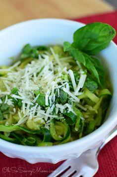 Sautéed Zucchini Noodles with Avocado Pesto - Oh So Savvy Mom