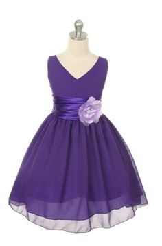 Bernadette - Purple Chiffon Dress for Flower Girl