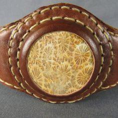 Leather Stone Cuff Wrist Band Bracelet Natural Stone by @AZRockwear, $165.00