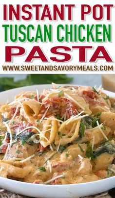 Instant Pot Tuscan Chicken Pasta is very easy to make, creamy and delicious with perfect juicy chicken, sun-dried tomatoes and spinach. patricks day food instant pot Instant Pot Tuscan Chicken Pasta (VIDEO) - Sweet and Savory Meals Instant Pot Pressure Cooker, Pressure Cooker Recipes, Pressure Cooking, Top Recipes, Pasta Recipes, Chicken Recipes, Dessert Recipes, Recipe Chicken, Dessert Food