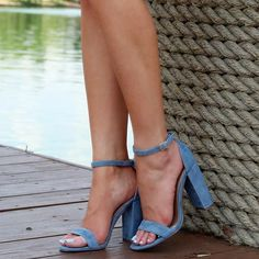 Click through to take your pick from the block heels, chunky mules, and strappy sandals that will be making plenty of appearances this summer. Ankle Strap Heels, Ankle Straps, Baskets, Sneaker Heels, Dream Shoes, Shoes Sandals, Strappy Sandals, Blue Shoes, Beautiful Shoes