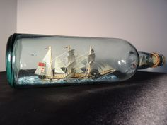 Vintage British Nautical Maritime 2 Tall Sailing Ships In Glass Bottle