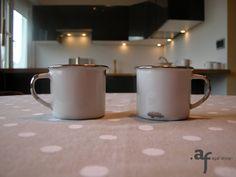 Agaf Design platinum hand painted porcelain mugs in a kitchen