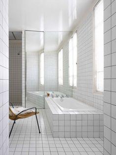 white tile, black grout.