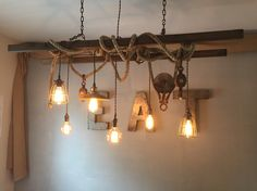 Vintage painters ladder with barn rope and pulley accent pieces. 6 Edison bulb pendants, cages, and cotton covered cord.