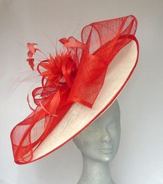 Ivory & Red Henrietta Disc Fascinator / Hat perfect for Mother of the Bride, Royal Ascot or Kentucky Derby