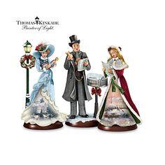 Thomas Kinkade Here We Come A-Caroling Figurine Collection