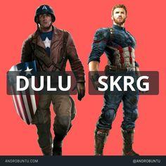 Perbedaan penampilan Captain America dulu dan sekarang. Baca selengkapnya di androbuntu.com