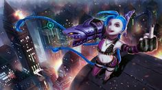 Jinx League of Legends HD Girl Middle Finger 1920×1080