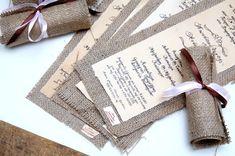 Wedding Invitations Vintage - Burlap Invitations - Rolling Invitations - Calligraphy- Made to order. $5.00, via Etsy.