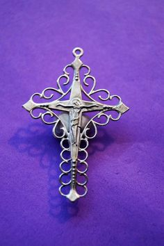NEW  Stunning Jesus Christ Cross  THIS IS MY NEW DESIGN .  I made this cross in solid silver Material : solid silver 925 Size : H-4.5 cm x 3 cm  Cross only.  The Cross design and made in my studio Canada