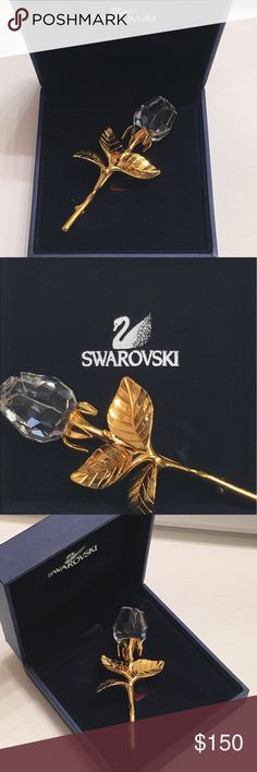 Never Worn Swa Rose Shaped Brooch Swarovski Crystal Rose brooch 2002 15 years old. Comes with original box and certificate. I never wore it I just kept in the box. The brooch is close to three inches in length. Swarovski Jewelry Brooches