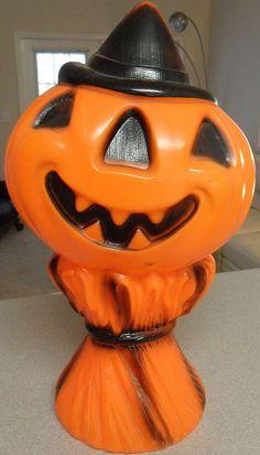 Vintage Halloween Blow Mold ~ Jack O' Lanter Man / Scarecrow. Made by Empire Plastics, 1969.
