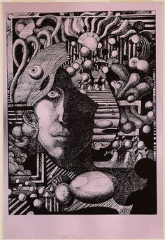 Self Portrait with Wandering Eye by Martin Sharp, 1969. Screenprint, printed in black ink on silver reflective foil