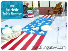 DIY Red White And Blue PatrioticTable Runner-Easy drop cloth DIY project www.H2OBungalow.com