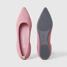 Women's Sustainable, Washable & Comfortable Pointed Flat Shoes | Pink | VIVAIA.CO