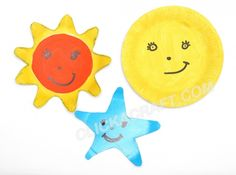 Paper Plate Sun, Moon and Star - Click on image to see step-by-step tutorial.